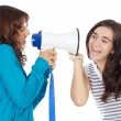 Teen girl with megaphone - Stockfoto