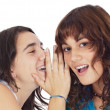 Teenager girls whispering a secret - Stock Photo