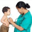 Stock Photo: Lady doctor with a baby