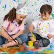Children playing with painting — Stock Photo #9626576
