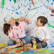 Children playing with painting — Stock Photo #9626578