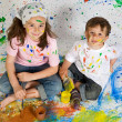 Friends playing with painting — Stock Photo #9626582