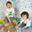 Children playing with painting — Stock Photo
