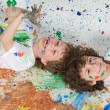 Children playing with painting — Stock Photo #9626602