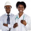 African americans doctor and engineer — Stock Photo