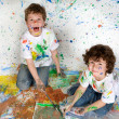 Children playing with painting — Stock Photo #9626652