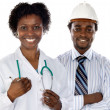 African americans doctor and engineer — Stock Photo #9626746