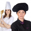 Couple of cooks women with black uniform — Stock Photo