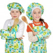 Boy and girl  learning to cook — Foto Stock