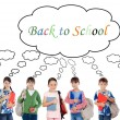 Many children students returning to school — Stock Photo