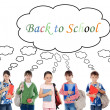 Many children students returning to school - Stock Photo