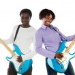 Couple with electrical guitar — Stock Photo