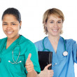 Stock Photo: Couple of doctors woman saying OK
