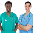 Stock Photo: African and caucasian doctors