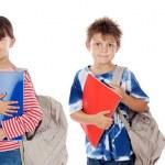 Many children students returning to school — Stock Photo