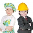 Little doctor and architect — Foto Stock