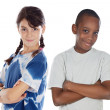 Two children of different races - Stock Photo