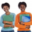 Two sisters teen students - Stock Photo