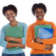 Two sisters teen students — Stock Photo