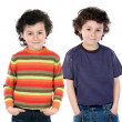 Funny couple of children twin — Stock Photo