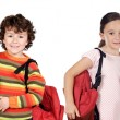 Stock Photo: Four children students returning to school