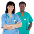 Couple of young doctors — Stock Photo #9627260