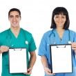 Medical team whit clipboard — Stok fotoğraf