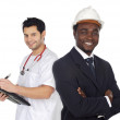 Two happy workers — Stock Photo