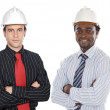 Engineers African-Americans and Caucasians — Stock Photo