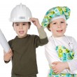 Little doctor and architect — Stock Photo
