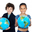 Stock Photo: Two happy children learning geography