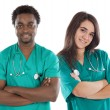 Couple of young doctors - Stock Photo