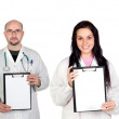 Medical team whit clipboard — Stock Photo