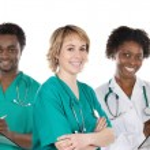 Medical team of three doctors — Stock Photo #9627910