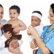 Stock Photo: Two pediatricians with beautiful babies