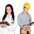 Young construction worker and a doctor — Stock Photo