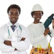 Couple of african workers - Stock Photo