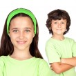 Couple of children with same clothes — Foto de Stock