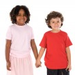 Two handsome children of different races — Stock Photo