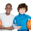 Foto Stock: Two adorable children with balls