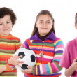Children with soccer ball — Stock Photo
