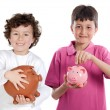 Two happy children with moneybox savings — Stock Photo #9628299