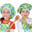 Children learning to cook — Stock Photo