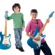 Two children whit electric guitar — Foto de Stock