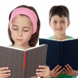 Two children reading — Stock Photo