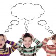Three funny children surprised with a same thought — Stock Photo