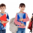 Stock Photo: Many children students returning to school