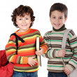 Two children students returning to school — Foto Stock