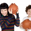 Two children and two teenagers with the savings — Stock Photo