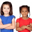 Adorable girls with crossed arms — Stock Photo